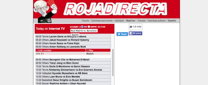 Duro colpo per i fan di Rojadirecta: oscurati 41 siti di partite e film gratis