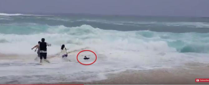 Bimbo risucchiato dalle onde, i genitori si lanciano in mare per salvarlo (video)