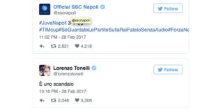 Su Twitter proteste partenopee dopo Juventus-Napoli