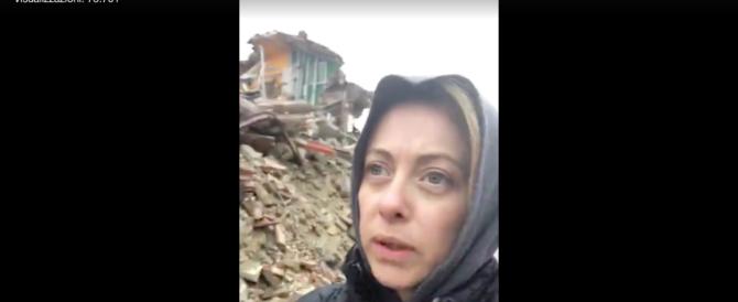 """Meloni ad Amatrice: """"Chiedo tasse zero per le zone colpite dal sisma"""" (VIDEO)"""