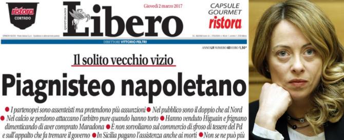 """""""Noi solidali con Napoli e la gente del Sud"""": Giorgia Meloni risponde a Libero"""