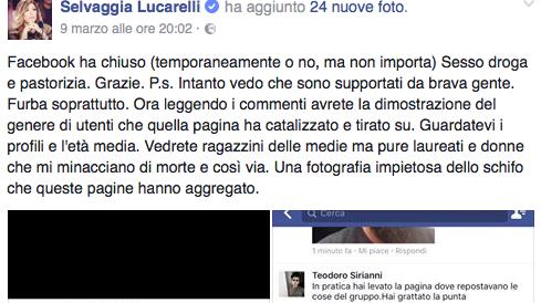 """Fb chiude """"Sesso, droga e pastorizia"""". Minacce di morte a Selvaggia Lucarelli"""