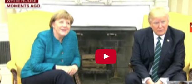 Primo faccia a faccia alla Casa Bianca tra Angela Merkel e Donald Trump (video)