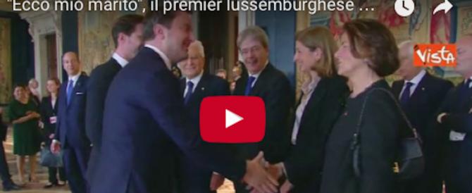 """""""Ecco mio marito"""": il premier del Lussemburgo fa le presentazioni a Mattarella (video)"""