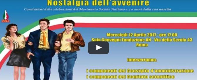 """""""Nostalgia dell'avvenire"""": il convegno sul Msi dalle 17 in diretta streaming"""
