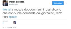 Il tweet di Galluzzo che paragona Renzi a Putin