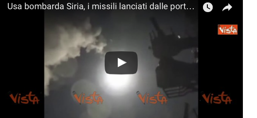 I missili lanciati dalle portaerei Usa sulla Siria: ecco le prime immagini (video)
