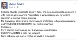 Il post di Matteo Salvini contro la decisione del Viminale