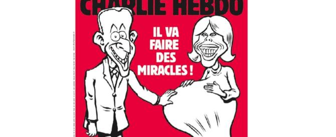 Charlie Hebdo: Macron «farà miracoli». E in copertina c'è Brigitte incinta