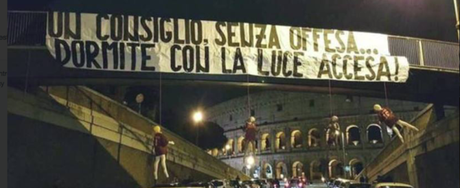 Manichini romanisti impiccati al Colosseo: un video incastra gli ultras laziali