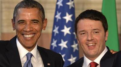 Renzi gongola a braccetto con Obama: è il lui la nostra stella polare mondiale