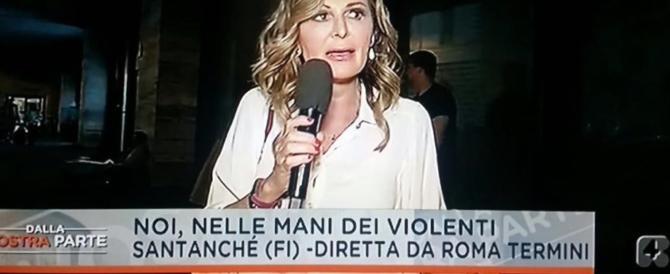 Daniela Santanchè aggredita a colpi di pietra in diretta tv dalla stazione Termini