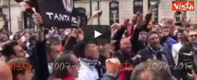 Brividi a Cardiff, i tifosi della Juve arrivano cantando Fratelli d'Italia (video)