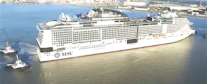 """Prende il mare """"Meraviglia"""", la nave da crociera più grande del mondo (video)"""