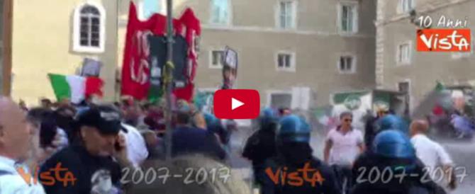 Idranti e manganelli sui manifestanti di Casapound in piazza contro lo Ius soli: 2 feriti (VIDEO)