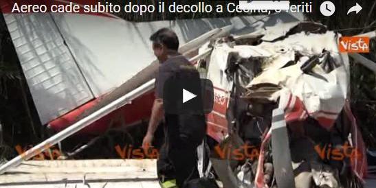 Cecina, aereo si schianta al suolo subito dopo il decollo: 5 feriti (VIDEO)