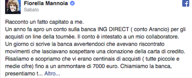 Clonata la carta di credito a Fiorella Mannoia: «Svuotato il conto, niente rimborso»