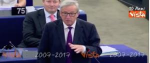 Ecco a voi il battibecco Juncker-Tajani: così l'Unione si rende ridicola (video)