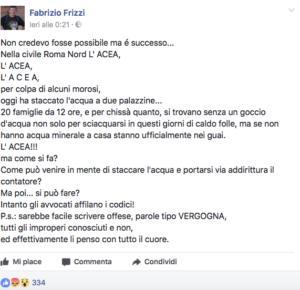 La denuncia su Fb di Frizzi