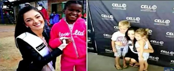 """Miss Sudafrica accusata di razzismo: """"Usa i guanti per toccare i bimbi neri"""" (VIDEO)"""