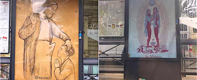 Manifesti blasfemi alle pensiline Atac, denunciato uno street artist romano