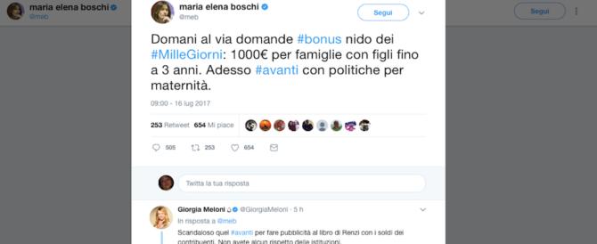 """La """"mandrakata"""" della Boschi: col tweet sul Bonus asilo fa lo spot al libro di Renzi"""