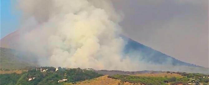 Spettacolare incendio alle pendici del Vesuvio: in azione due Canadair