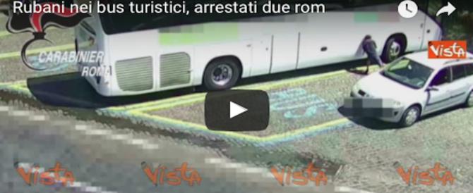 Roma, ecco come una coppia di rom rubava le valigie dai bus turistici (video)