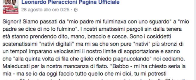 Leonardo Pieraccioni: «Genitori prendete a calci in c… i vostri figli»