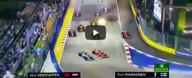 Disastro Ferrari a Singapore, le rosse si scontrano tra loro al via (video)