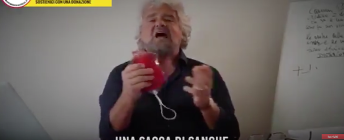 """La gaffe del """"milionario"""" Grillo: «Finanziate il M5S, ci serve il vostro sangue» (video)"""