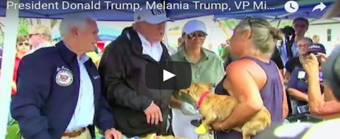 Florida, Trump e Melania distribuiscono panini e sorrisi: il dopo Irma comincia così (VIDEO)