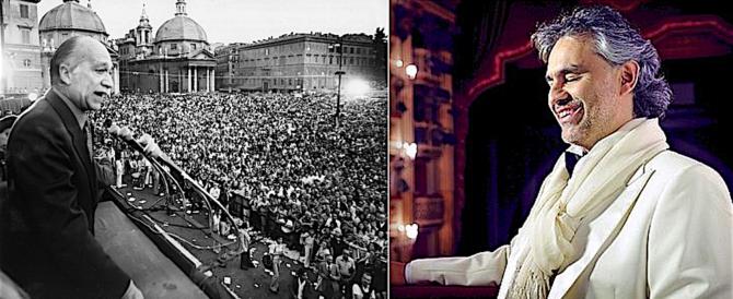 """Bocelli canta l'Inno a Roma, """"sigla"""" dei comizi di Almirante: arrestatelo (video)"""