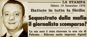 Ricordato il giornalista ed ex Rsi Mauro De Mauro, ucciso dalla mafia