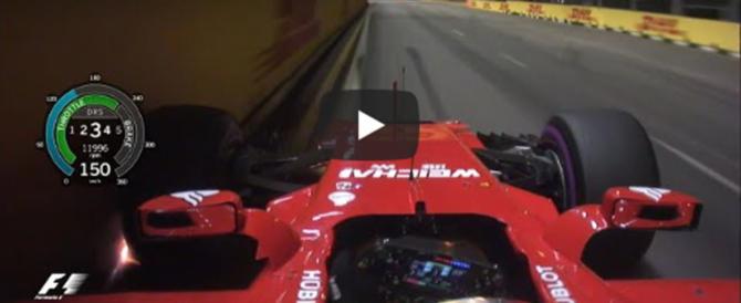 Vettel in pole a Singapore, giro record. Un video dall'auto regala brividi