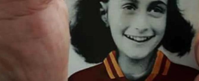 """Spunta nella curva laziale una vecchia foto di Anna Frank """"romanista"""". Ed è bufera"""