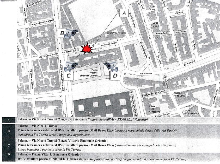 La mappa del luogo dell'omicidio Fragalà e le telecamere della zona