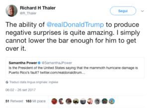 Uno dei tanti tweet di Thaler contro Donald Trump