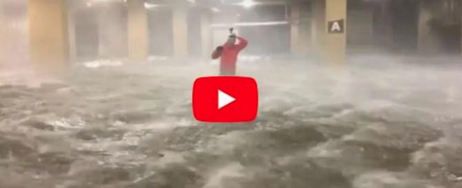 L'uragano Nate spaventa gli Usa: travolto reporter in un garage (video)