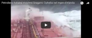 Uragano Ophelia, grande paura a bordo della petroliera italiana (video)