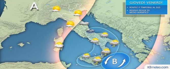 Previsioni meteo: le piogge al Centro Sud continueranno fino a venerdì