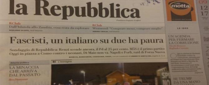 """Fascisti, un italiano su 2 ha paura. Repubblica scrive il """"volantino"""" per il corteo di Como"""