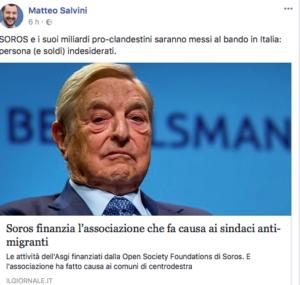 Salvini su Fb contro Soros