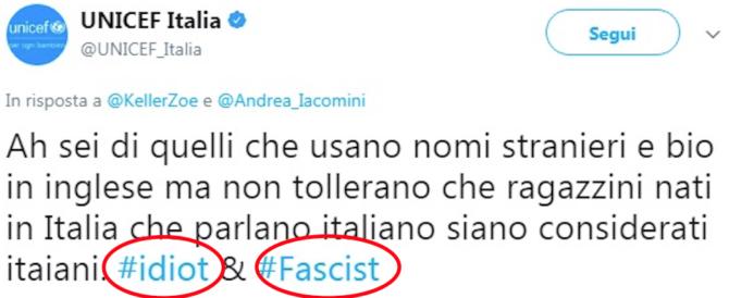 """Gaffe dell'Unicef: """"Idiota e fascista chi non vuole lo Ius Soli"""". L'ira della Meloni"""