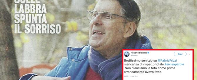 Sui giornali le foto di Frizzi con i segni dell'operazione. L'ira di Fiorello: «Che bruttezza»