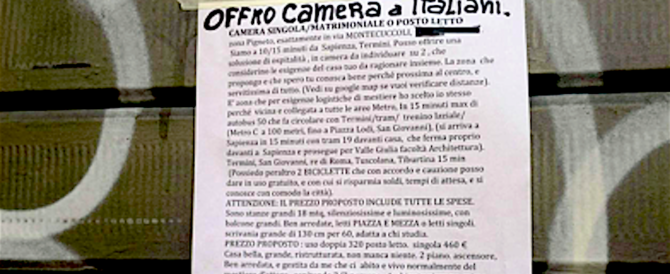 """""""Affitto solo a italiani"""". Bufera a Roma su un proprietario che chiede """"serietà"""""""