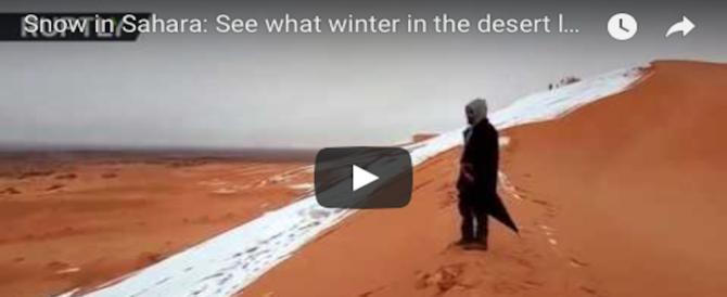 L'incredibile show della natura: la neve sulle dune del Sahara (VIDEO)