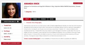 Il tariffario di Amanda Knox, pubblicato sul sito che promuove le sue conferenze