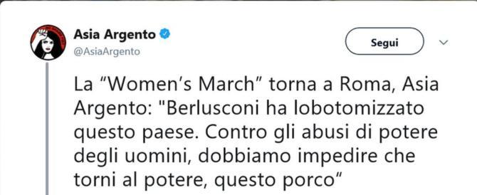 Asia Argento sempre peggio, in piazza contro Berlusconi: «E' un porco»