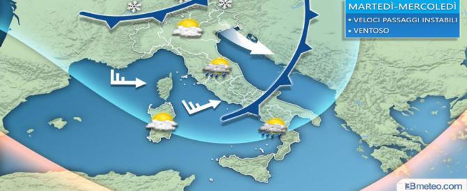 Previsioni meteo, aria fredda e forte vento. Migliora il clima al Centro Sud